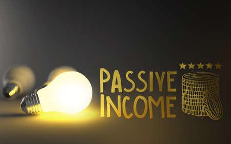 ingresos: luz 3d bombilla y dibujado a mano los ingresos pasivos como concepto