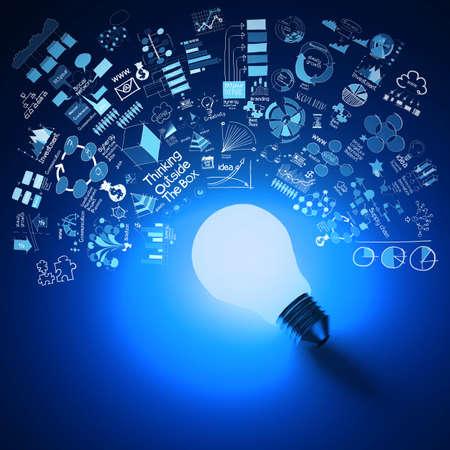 개념으로 비즈니스 전략의 배경에 파란색 전구 차원