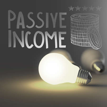 income market: light bulb 3d and hand drawn passive income as concept