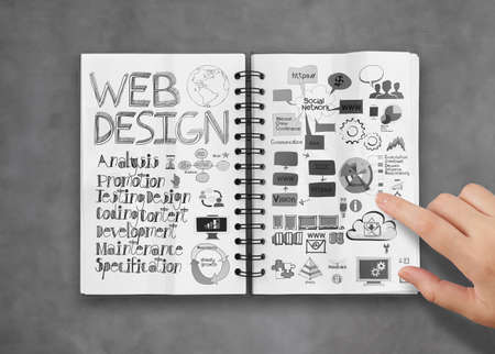 xhtml: hand touch book of  hand drawn web design diagram  background as concept