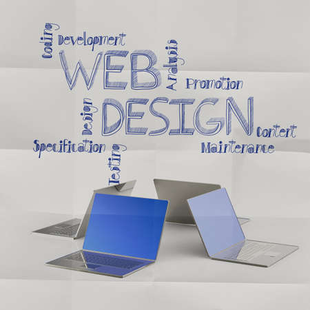 laptop computer with hand drawn web design icons as concept photo