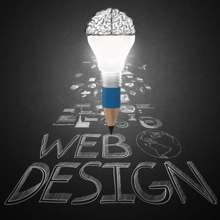 creative design hand drawn web icon as pencil lightbulb brain 3d as web design concept Stock Photo - 25265043