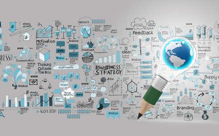 비즈니스 디자인 개념으로 연필 전구 세계 차원으로 창조적 인 디자인 사업 스톡 콘텐츠