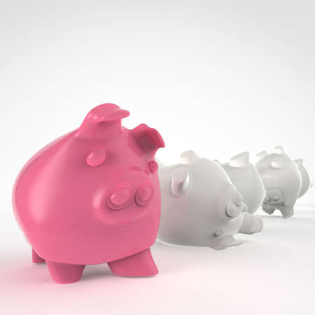 piggy bank 3d standing and another fall as concept photo