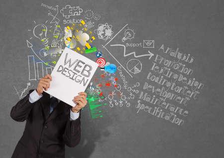実業家の手 web の本デザインとダイアグラム上のアイコン表示テクスチャ背景概念として