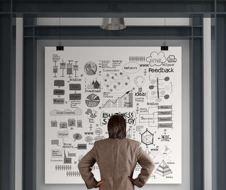 businessman looking business concept on poster with composition wall with steel frame background photo