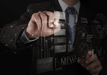close up of hand drawing  business strategy as concept Stock Photo
