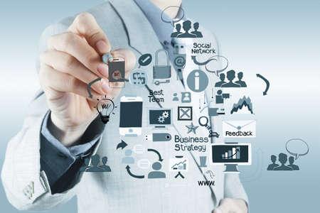 mão empresário trabalha com computador novo e estratégia empresarial moderna como conceito