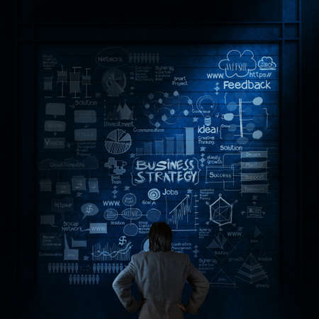 businessman looking hand drawn business strategy on texture wall as concept Stock Photo - 25265273