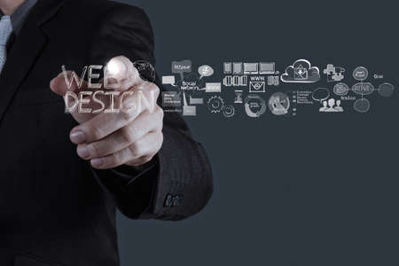 web hosting: businessman hand  working with  web design diagram as concept  Stock Photo