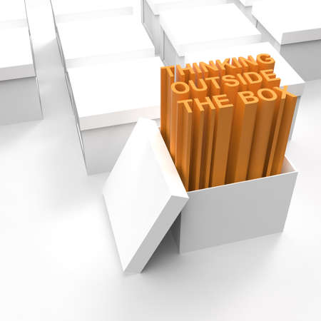 3d open box with extrude text as thinking outside the box concept photo