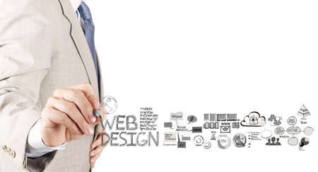 website words: business man hand  drawing web design diagram as concept