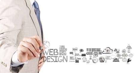 Geschäftsmann Handzeichnung Diagramm als Web-Design-Konzept