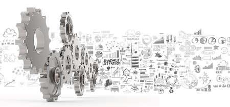 schema: strategia di business disegnato a mano 3d ingranaggi di successo come concetto