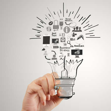 marketing concept: hand drawing creative business strategy with light bulb as concept