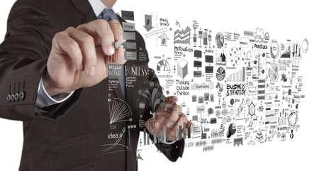zakenman hand werken met nieuwe, moderne computer en business strategie als concept