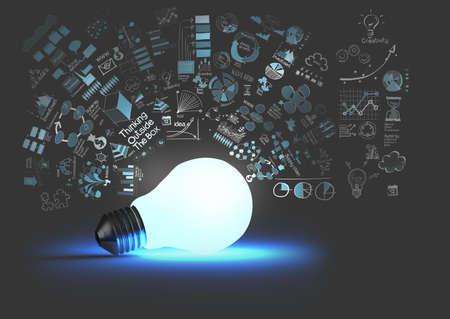 inteligencia: luz 3d bombilla en la estrategia de negocio de fondo como concepto Foto de archivo