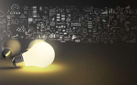 gloeilamp 3D op de bedrijfsstrategie achtergrond als concept