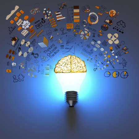 light bulb 3d and brain on hand drawn business strategy background as concept Imagens