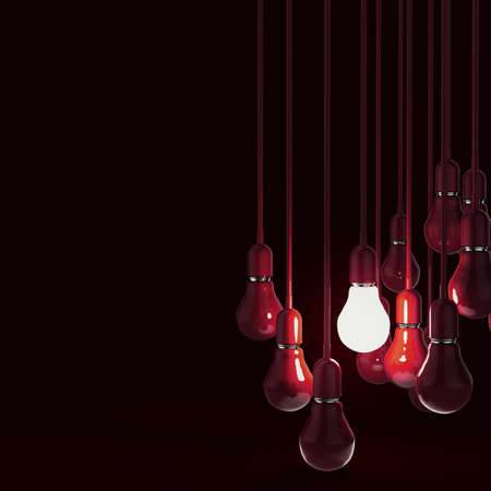 creative idea and leadership concept with 3d red  light bulb 版權商用圖片