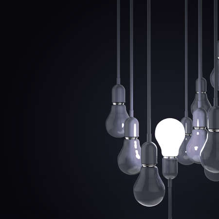3d image: creative idea and leadership concept with 3d blue light bulb