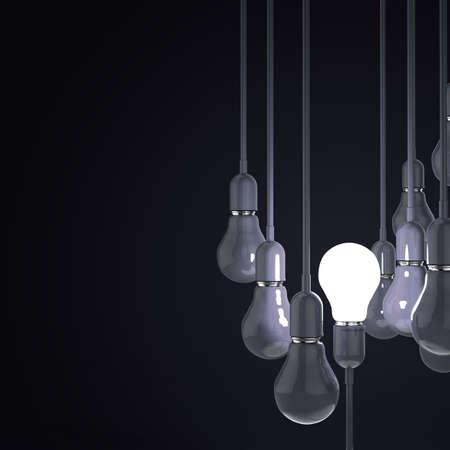 creative idea and leadership concept with 3d blue light bulb photo