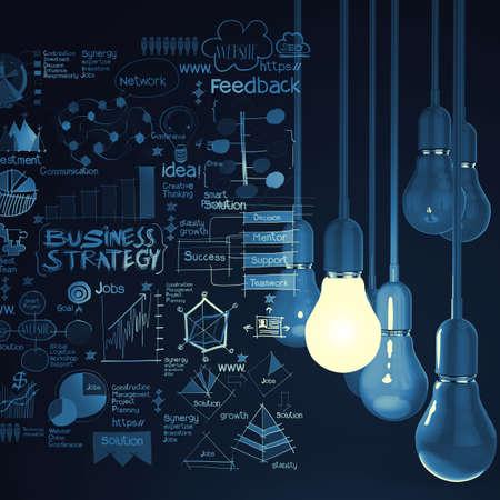 strategie: Gl�hbirne 3d auf Gesch�ftsstrategie Hintergrund als Konzept