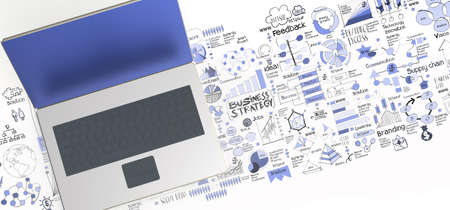 3d laptop computer and hand drawn business diagram as concept photo