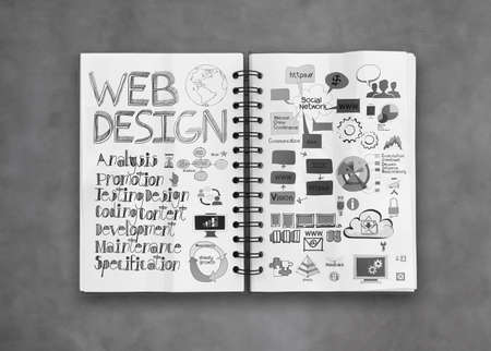 hypertext: book of  hand drawn web design diagram  background as concept Stock Photo