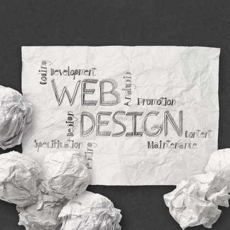 xhtml:  hand drawn web design diagram on crumpled paper background as concept