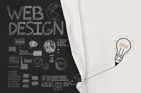 website: Bleistift Gl�hbirne Zugseil �ffnen zerknittertes Papier zeigen Web-Design Hand gezeichnete Symbole als Konzept