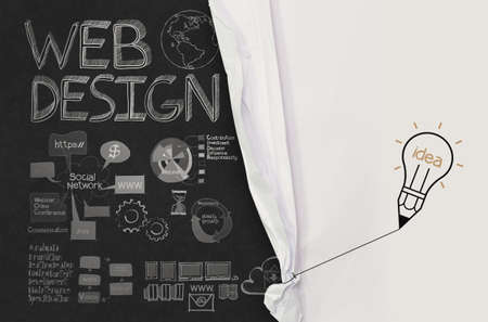 website words: pencil lightbulb draw rope open wrinkled paper show web design hand drawn icons as concept
