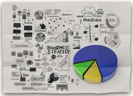 desarrollo económico: mano la estrategia de negocios dibujado sobre fondo de papel arrugado como concepto