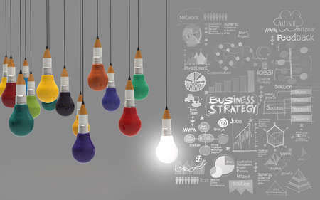 creative design business as pencil lightbulb 3d as business design concept photo