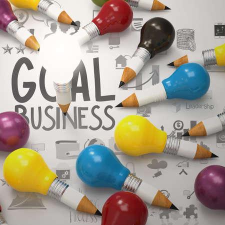 creative design business as pencil lightbulb 3d as business design concept photo