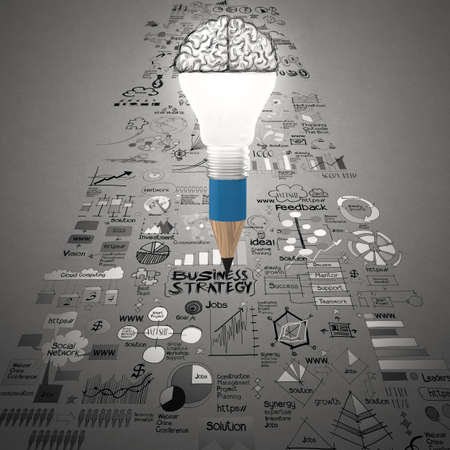 project: creative design business as pencil lightbulb brain 3d as business design concept