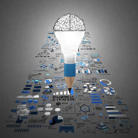 desarrollo económico: negocio de diseño creativo como 3d bombilla lápiz cerebro como concepto de diseño de negocios