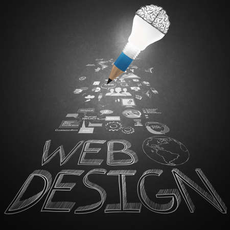 hypertext: creative design hand drawn web icon as pencil lightbulb brain 3d as web design concept