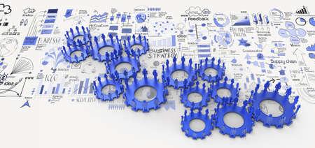 dirección empresarial: la estrategia de negocio de dibujado a mano de engranaje humano 3d al éxito como concepto Foto de archivo