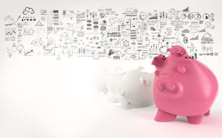 financial security: pink piggy bank 3d  and hand drawn business strategy as concept Stock Photo