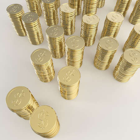 Stack of golden coins dollar sign 3d on white background Stock Photo - 25265900