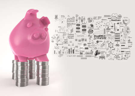 pink piggy bank 3d standing over coin and hand drawn business stategy as concept photo
