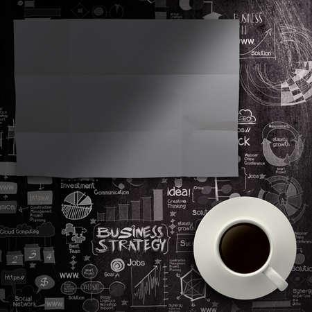 marca libros: hoja de papel en blanco y negro taza de café en mano dibujada estrategia de negocio de fondo como concepto Foto de archivo
