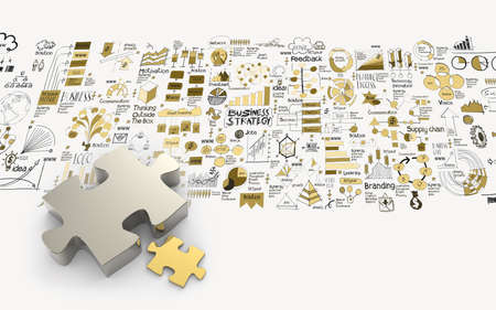 another: puzzles partnership 3d and hand drawn business strategy as concept Stock Photo