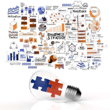 puzzles in light bulb and business strategy as concept photo
