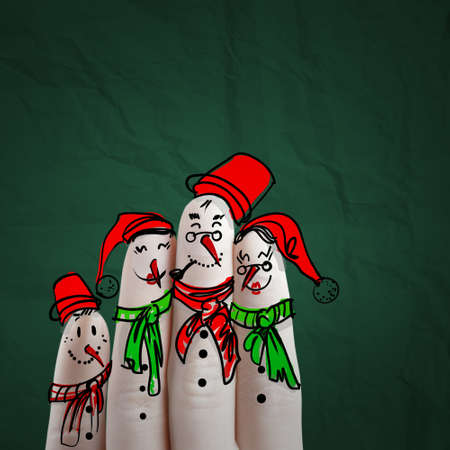 lovely family hand drawn and finger of snowmen,as concept idea photo