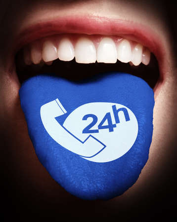 woman with open mouth spreading tongue colored in Support and service icon as concept photo