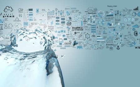 3 D ペイント水の色のスプラッシュと手の概念として描かれたビジネス戦略の背景