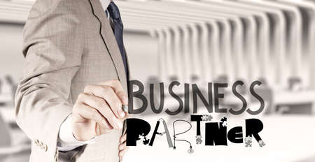 businessman hand draw business partner design word as concept photo
