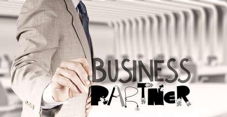 businessman hand draw business partner design word as concept photo